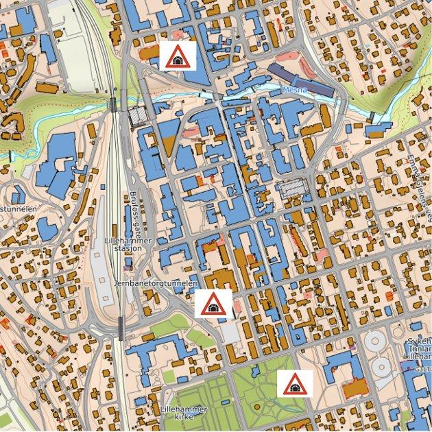 BIL I SENTRUM : Et viktig grunnlag legges for å forberede for et parkeringsanlegg i fjell i Lillehammer. Foto: Kartverket