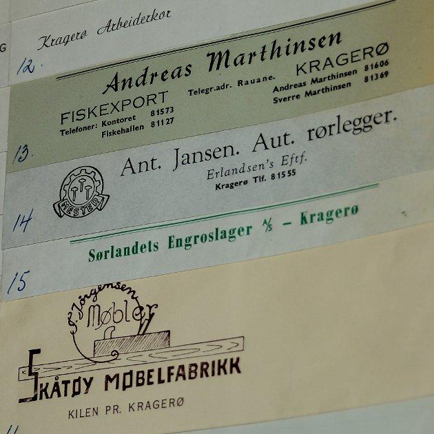 Fiskehandler Andreas Marthinsen hadde utsalg på brygga. Jansen het en rørlegger i Kragerø og på Skåtøy var det en møbelfabrikk