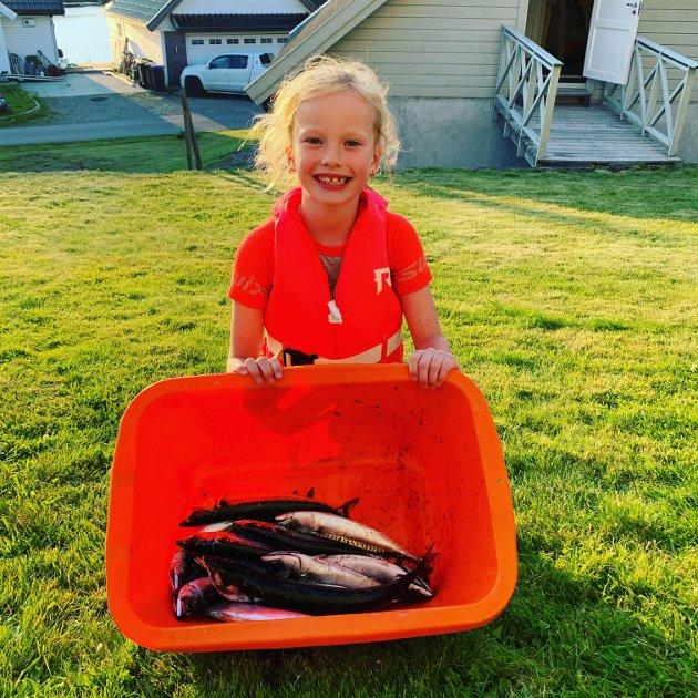 Hanna på 7 år har vært og fisket makrell i Arendal. 14 makrell på 30 minutter.