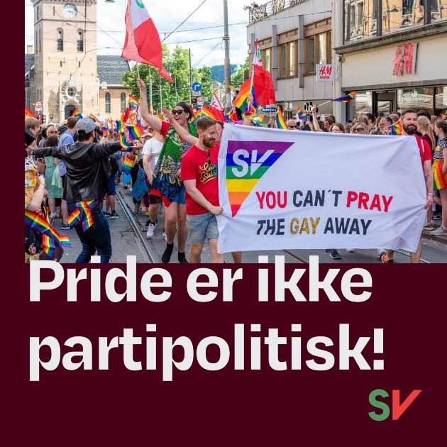Pride er politisk, men ikke partipolitisk, mener styret i Finnmark SV.