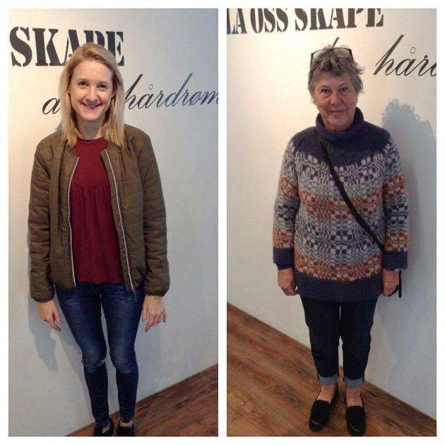 Ble nye: Camilla Nybakken (27) og Anne Gundersen (70). Forandringen skjedde hos City Frisør og BB Mote.