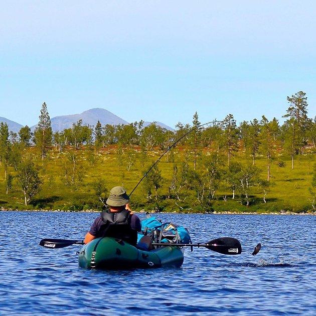 SKiTT FISKE: I Rendalen er det ørretfiske som gjelder. Hans-Erik Lindblad drar opp en ørret i idylliske omgivelser.