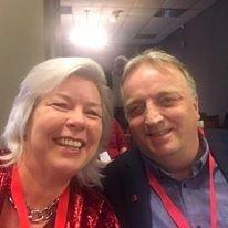 Irene Bordier Haukedal og Harald Olsen fra LO Vestfold og Telemark