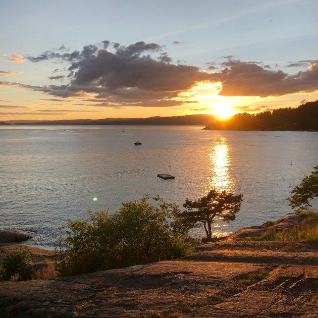 Oslofjorden, solnedgang ved Sonsstranda