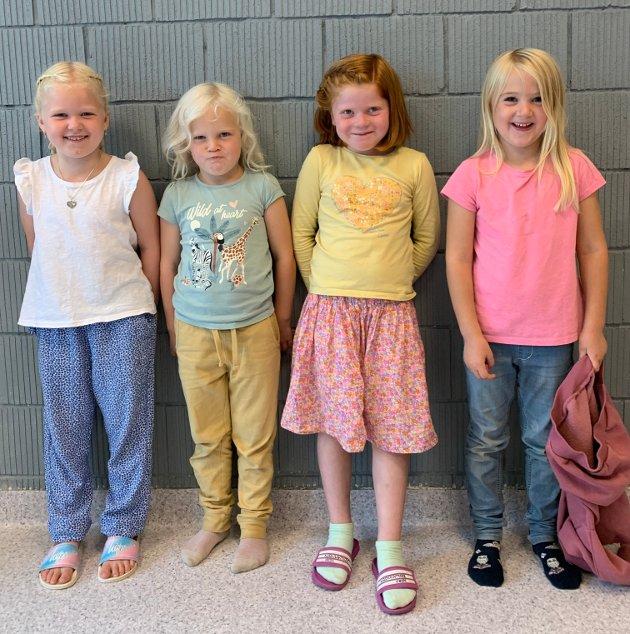 1.KLASSE: Enya, Tuva, Nora og Ronja har startet på SFO i Kvelde