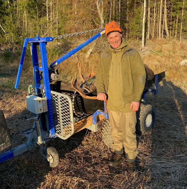 SKANTEBYGDA: Hans Hamid Rasmussen felte en 10-taggers okse for Skantebygda elglag.