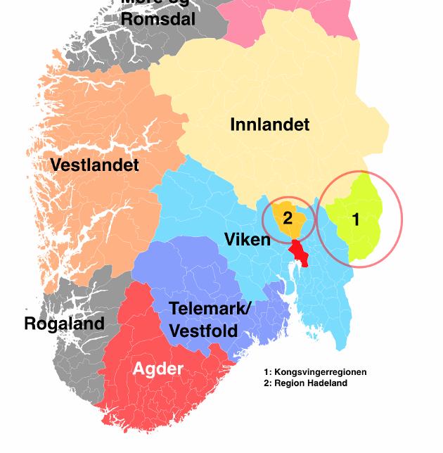 Kongsvingerregionen må knyttes til Viken som både er geografisk nærmest, har gode kommunkasjoner og arbeidsmarked.