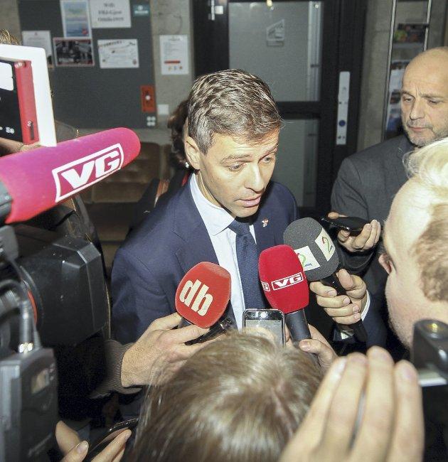 Knut Arild Hareide: Ettertraktet av mediene.Foto: Fredrik Hagen / NTB scanpix