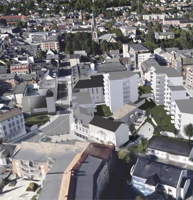 Hvidts Plass: Spir Arkitekters forslag til en tenkt videre kvartalsutbygging.