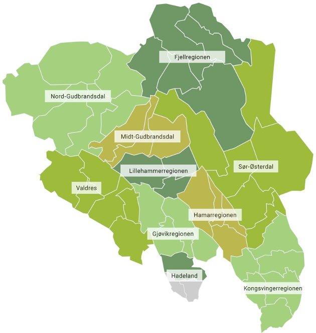 Kart over regionene i Innlandet fylke.