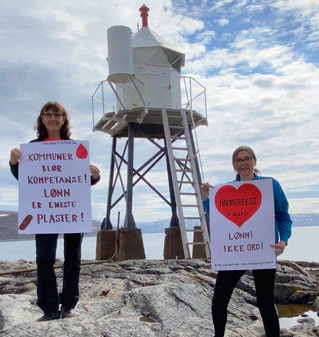 Hovedtillitsvalgte viser sin støtte til Uniostreiken på Skansen. Fra venstre Nan Irene Nilsen og Elin Mølmann Holmgren