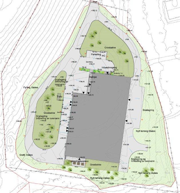 Utomhusplan for nytt Vannforsyningsanlegg på Hovemoen fra Sweco-rapport