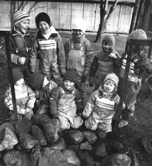 Bråtenstua barnehage, Jeløy/Reier.  Vinteren 1992.