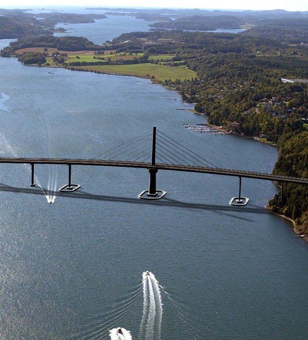 Vestfjordforbindelse: For oss på øyene ville det ikke lenger være så fjernt å bruke f.eks. håndverkere fra Sandefjord. Fotomontasje: Statens vegvesen Vestfold