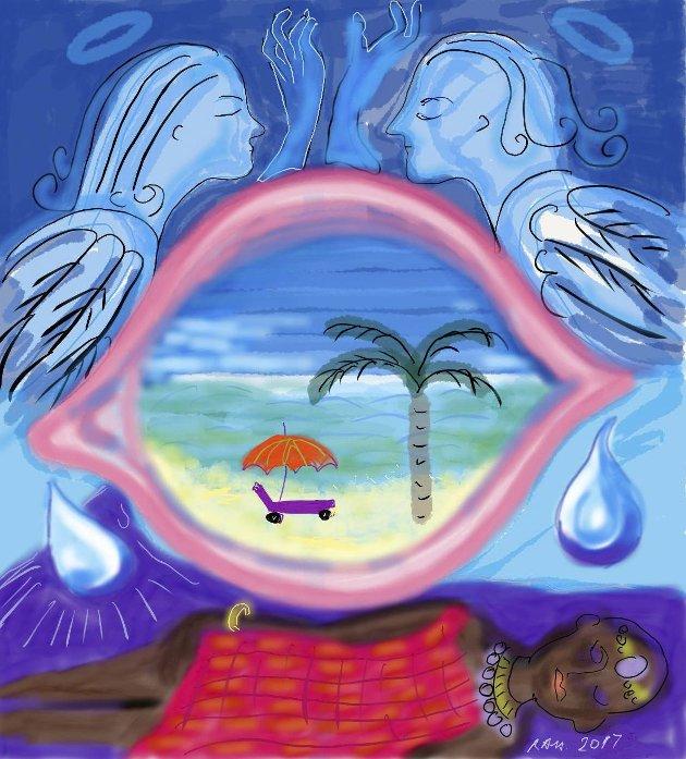 EN TAKK TIL HJEMMETJENESTEN I LIER: Fra palmesus og hvite strender i Tanzania. Illustrasjon: Rachel Anne Haugen
