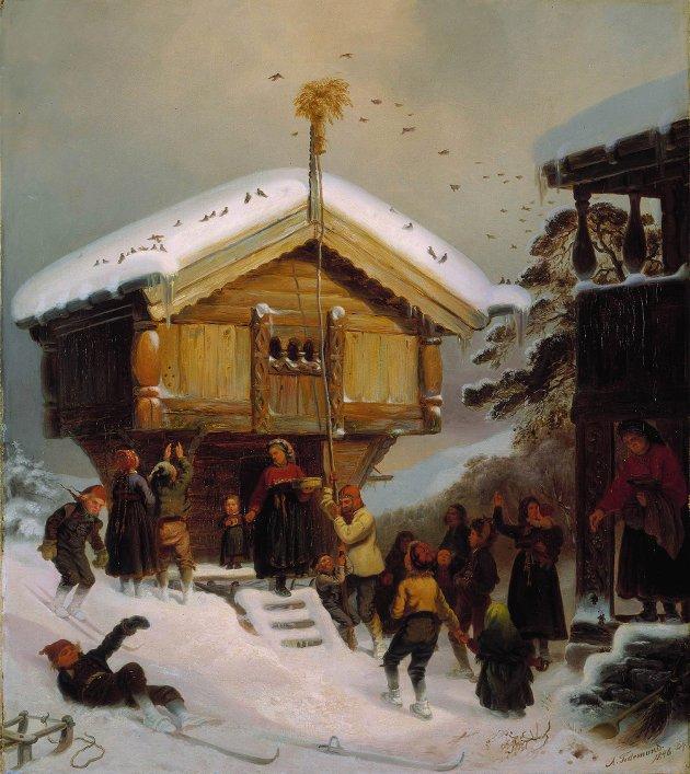 JULEFEIRING: Flere av julas tradisjoner stammer fra gammel hedensk tid, som å henge opp julenek. Her et bilde av Adolph Tidemands julefeiring anno 1846.