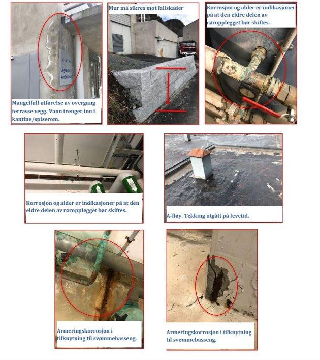 BERGTUN OMSORGSSENTER:  I hovedtrekk fremstår bygningen i god stand, men det er utfordringer knyttet til fallforhold på våtrom, tekking av tak, samt armeringskorrosjon i tilknytning til behandlingsbasseng.   Det registreres relativt mye byggefeil på C-fløyen som medfører til skader på konstruksjonen. Generelt er de fleste våtrom på pasientrom ikke utført iht. krav til nivåforskjell på gulv.   Det er etablert lokalt fall i dusj sone med varierende høyde og helt ned til 2mm. i et tilfelle. Dette medfører vann over store deler av gulvflatene og i enkelte tilfeller vann tilstøtende rom.