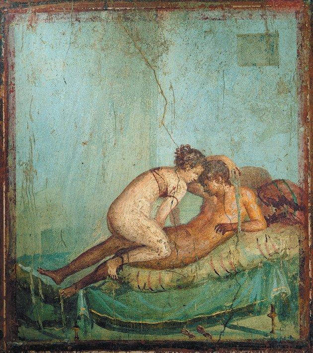 Da arkeologene fant denne fresken i en villa i Pompeii, konkluderte de med at huset var et bordell. Men ny forskning viser at enhver romer med respekt for seg selv hadde erotikk på veggene.