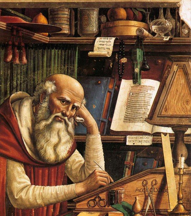 KIRKELIG: Brillelignende synshjelpemidler så dagens lys først med lese- og skriveavhengige italienske munker. Her sees en florentinsk herre i en italiensk kirke, malt i 1480.   FOTO: Fine Art Images/NTB scanpix / TT / NTB Scanpix