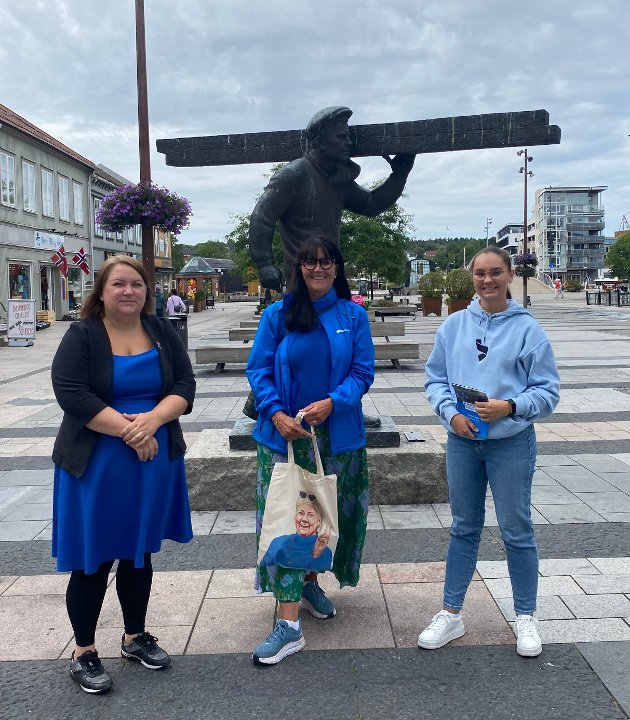 Nedre Glomma-kandidatene Margrethe Motzfeldt (Sarpsborg), Marianne Klever Næss (Fredrikstad) og Caroline Mathea Grønli Andersen (Fredrikstad) på Høyres valgkampåpning i Fredrikstad lørdag 7. august.
