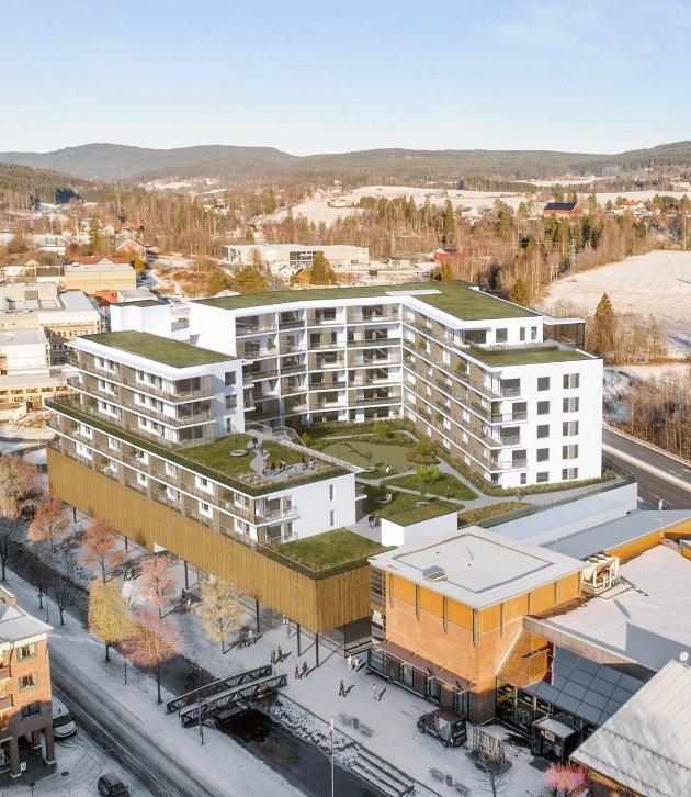 SKAMPLETT:Tore Berg er lite begeistret for den planlagte utvidelsen av Mosenteret med boligkompleks på toppen. Illustrasjon: Seltor Bolig AS