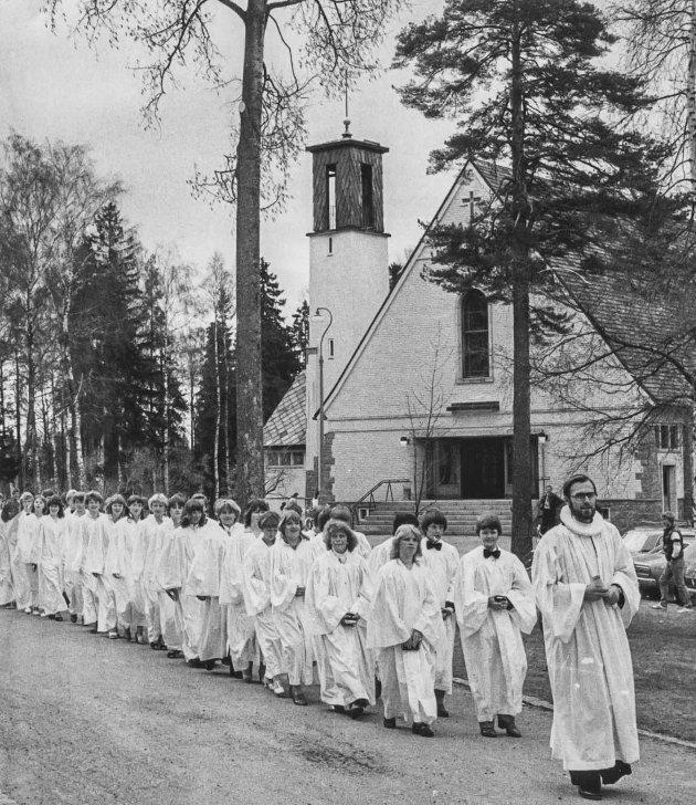 Konfirmanter ved Askim kirke anno 1986.