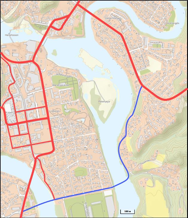 OMKJØRING I ØST: Det er i dag ingen alternativ vei utenom Hønefoss bru. Østtangenten gir valgmulighet. Kartgrunnlag: Norgeskart.no
