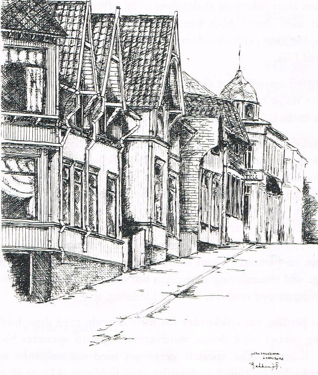 Illustrasjonen er fra utstillingskatalogen fra 1978, og motivet er Jernbanegata. (Illustrasjon: Erling Bakken)
