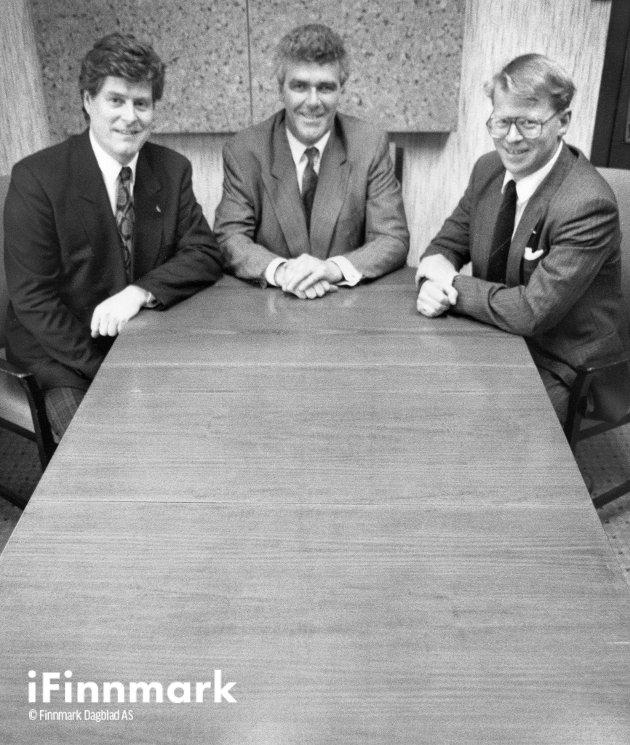 Nordkapp sine nye eiere: Styreformann i Nordkapp vel Bjørn G., nestleder Rolf H. (SAS) og medlem Svein Solberg (DNB). Mai 1990.