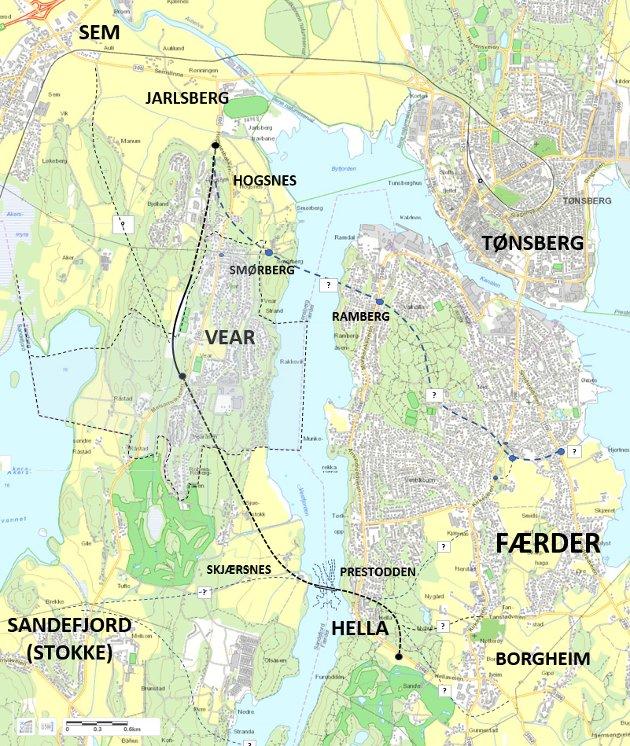 ALTERNATIV: Sten Hernes foreslår å legge Vestfjordforbindelsen fra Borgheim mot nordvest, med endepunkt ved Jarlsberg Travbane, alternativt ved Semsbyen. Denne løsningen går ikke i dagen gjennom Sandefjord kommune.