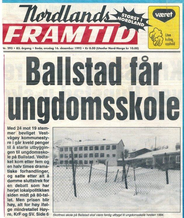 I desember 1992 ble den felles ungdomsskolen på Leknes delt opp. Skal vi nå haste-fatte et nytt vedtak der vi risikerer at historien bare gjentar seg?