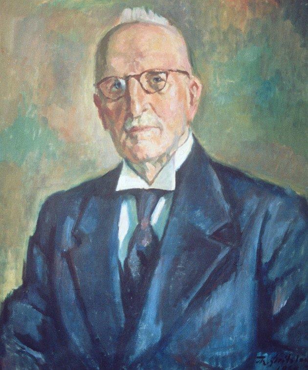 150 ÅR: Bernt Seland, her malt av Torbjørn Øritsland, startet Haugesunds Avis i 1895.. Seland var født i 1870 og gikk i sitt 89. år da maleriet ble laget.