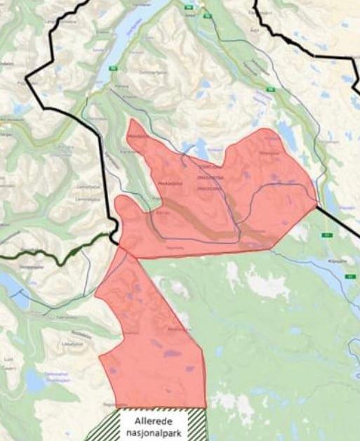 Forslag til Treriksrøysa nasjonalpark. Kart fra plandokumentene.