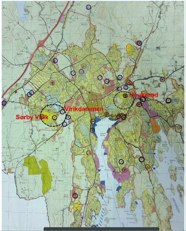 SYKEHJEM: Sandefjord kommune har fremlagt et kart over kommunen, der det er påført noen tall, skriver Einar A. Sissener.