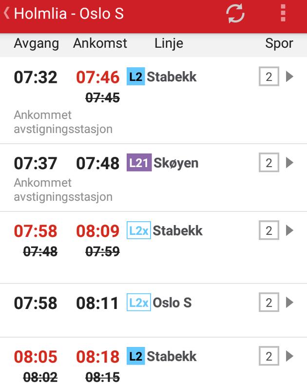 Screenshot av appen kl. 08.07