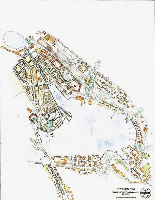 Slik så arkitektene for seg området ved Nygårdstangen anno 2020. ILLUSTRASJON: BYVISJON 2020/BERGEN KOMMUNE