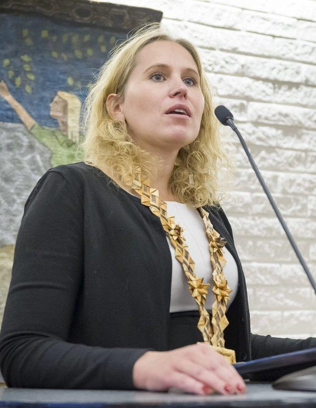 I retten: Ordfører Kamilla Thue representerte kommunen i rettsmeklingen.