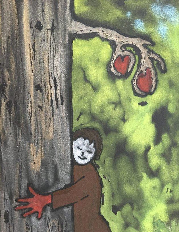 – Det beste nå er gleden over naturen. At vi kan holde hardt rundt et tre i skogen, i en park eller i en have, skriver Riitta Berger i sin betraktning om pensjonist-tilværelsen under pandemien.  (Illustrasjon: Päivi Hilska)