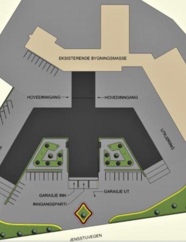 Illustrasjonsbilde av nytt sykehjem i Jensstuvegen.