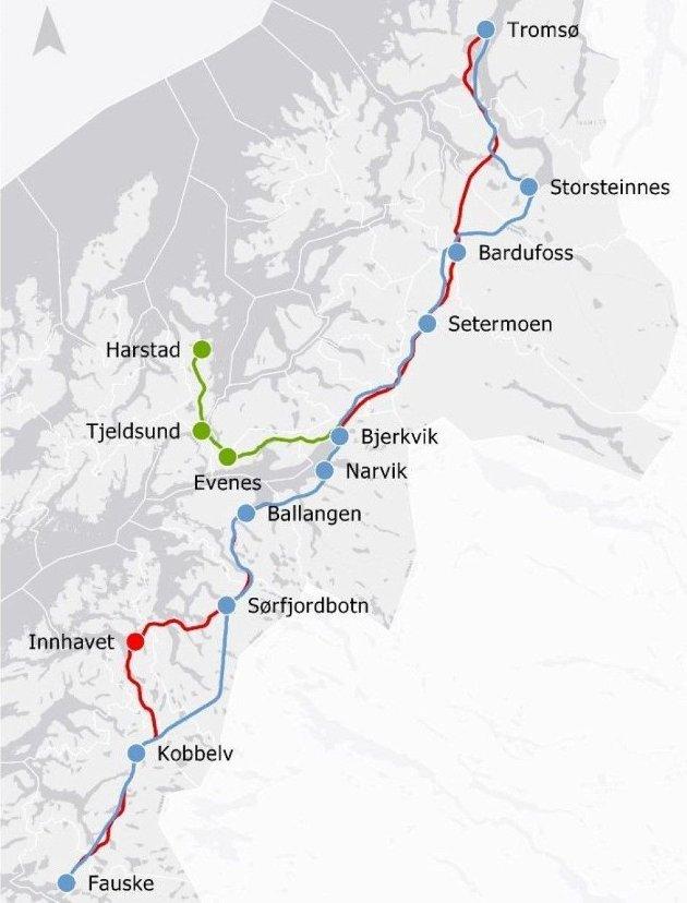 Nye Hamarøy kan ikke bli avspist med at Nord-Norge-banens trasé blir lagt langs grensa til nabo Sverige