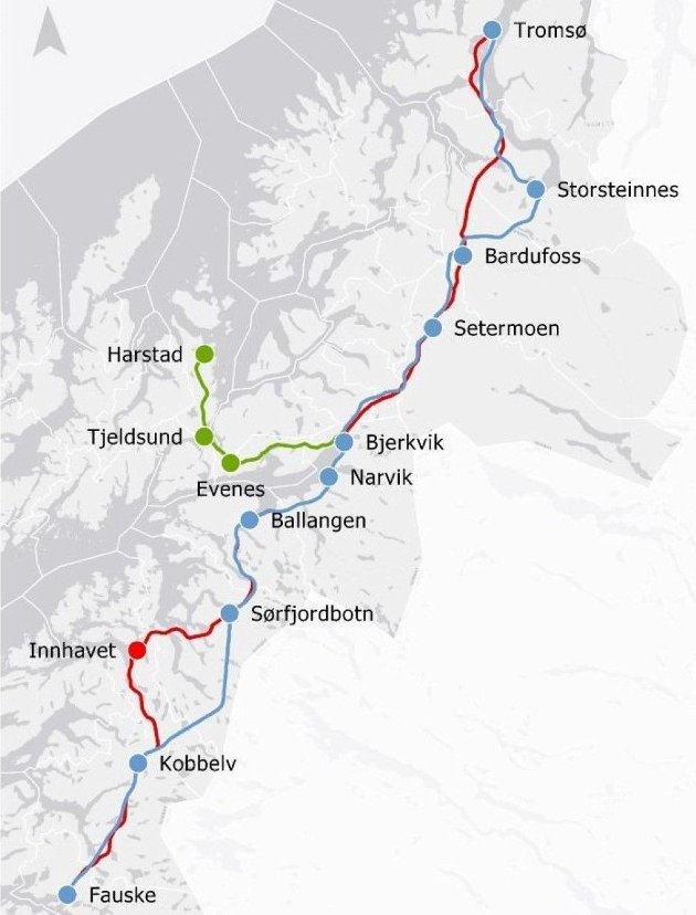 Jernbanedirektoratet tar utgangspunkt i at noe under halvdelen av gods på vei kan bli overført til Nord-Norge- banen. Kvalifiserte utredninger tilsier at dette er altfor optimistisk