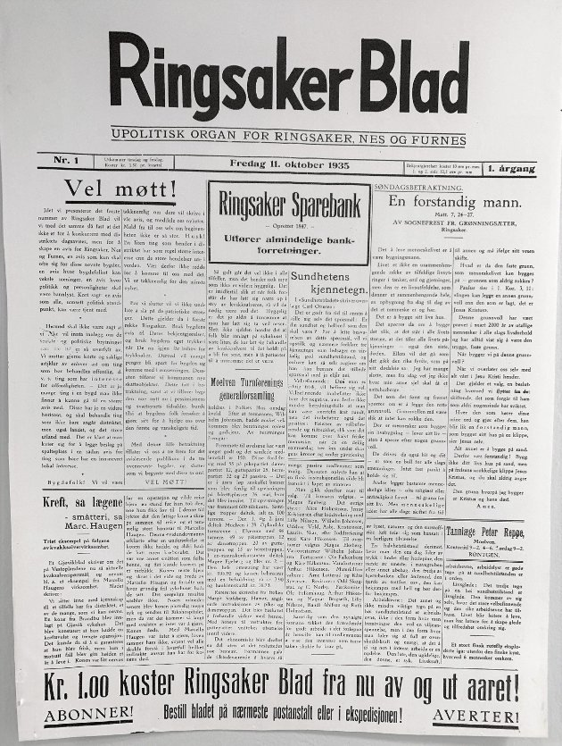Ringsaker Blads første utgave: Fredag 11. oktober 1935 kom den første utgaven av Ringsaker Blad ut. Kontrasten er stor til dagens RB som blir oppdatert flere ganger daglig. Men de lokale nyhetene var like viktige da som de er nå.