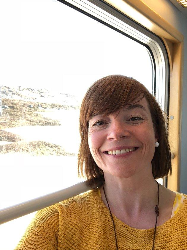MDGs nestleder Kriss Rokkan Iversen på toget gjennom Sverige, da hun i 2019 forsøkte å reise til partiets landsmøte i Oslo uten klimagassutslipp.