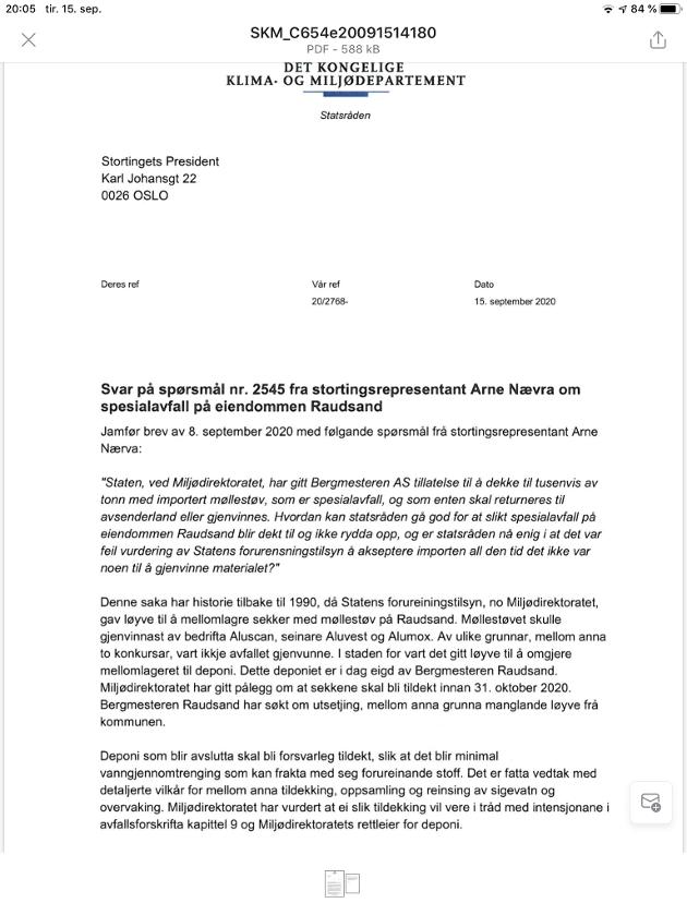 Svar til stortingsrepr. A Nævra SV fra miljøvernminister Sveinung Rotevatn