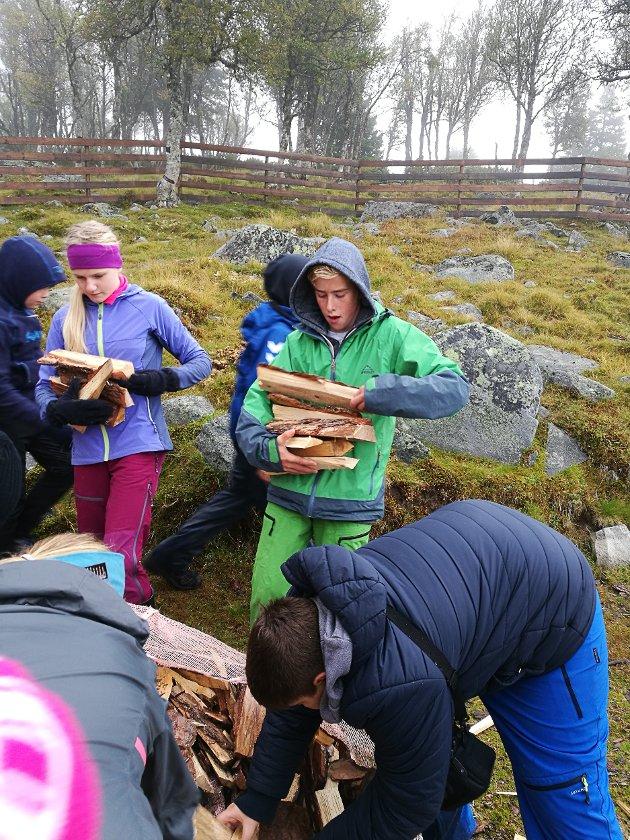 Håkon bærer ved! Stor innsats, skriver lærer Sigrun Rosland.