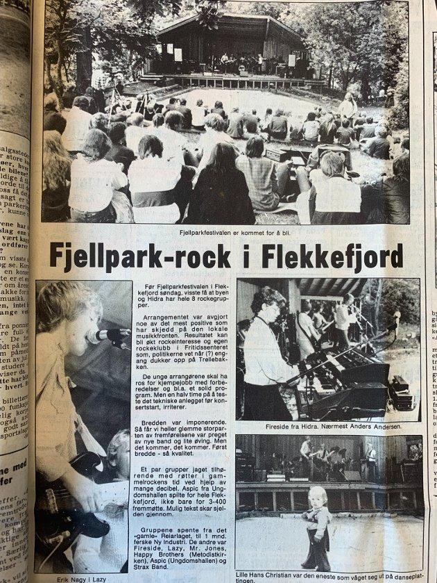 OMTALE: Omtalen av den første festivalen i 1982 slo fast at Fjellparkfestivalen er kommet for å bli med et fremmøte på 300-400 publikummere på konserten med åtte lokale rockeband.