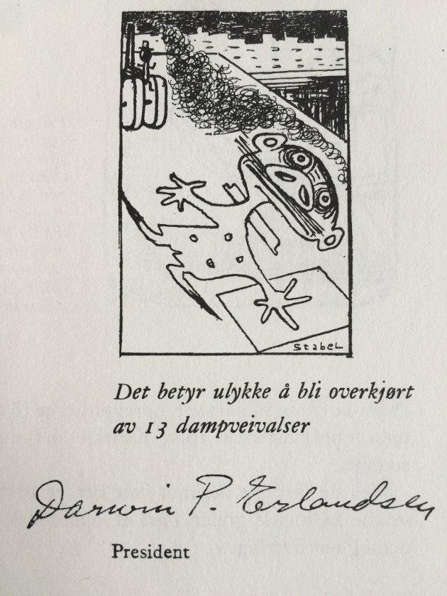 Bjørn Økland mener denne klassikeren fra Dusteforbundet er en aktuell kommentar til regionreformen. (Liv Stabel, enken til Fredrik Stabel som har tegnet tegningen, har gitt tillatelse til at tegningen brukes sammen med innlegget.)