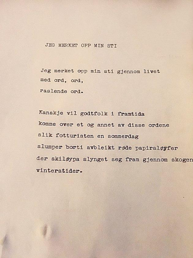 UPUBLISERT: Dette er et av de diktene som ble funnet hjemme på Børheim på Tobøl blant Hans Børlis etterlatenskaper.