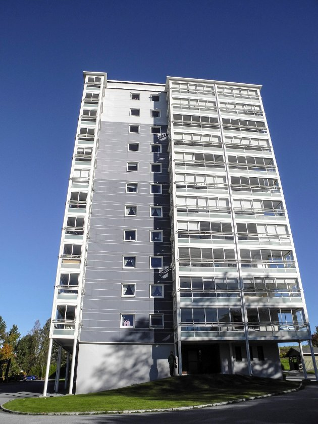 HØYHUS: Halden har to høyblokker, en på Rodeløkka og en på Solbakken. Ann-Kristin Lystad ber haldenserne våkne opp og si nei til høyhus i Halden.