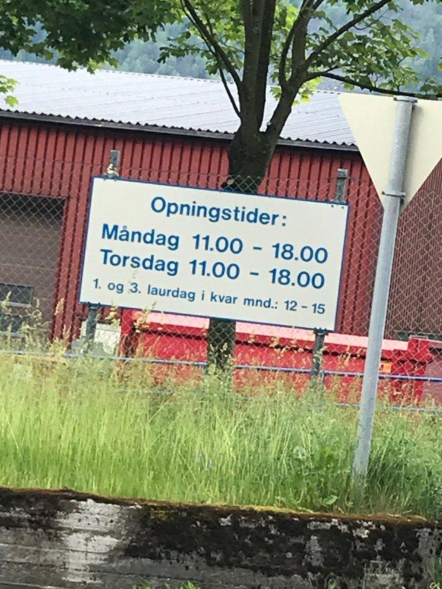 Åpningstider: Lindenes Miljøstasjon. Foto: Privat
